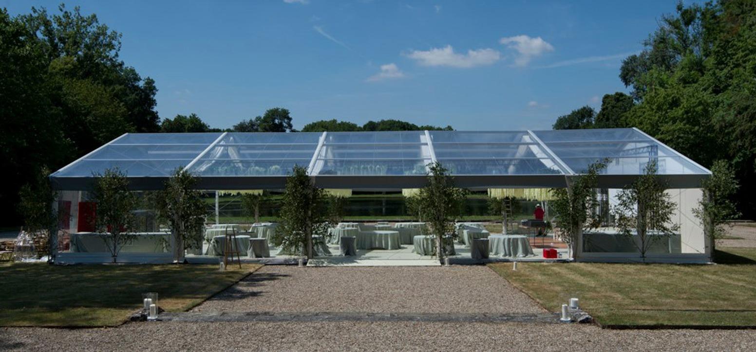 Tente cristal Mariage MOMA Bipente 20M Structure Cristal